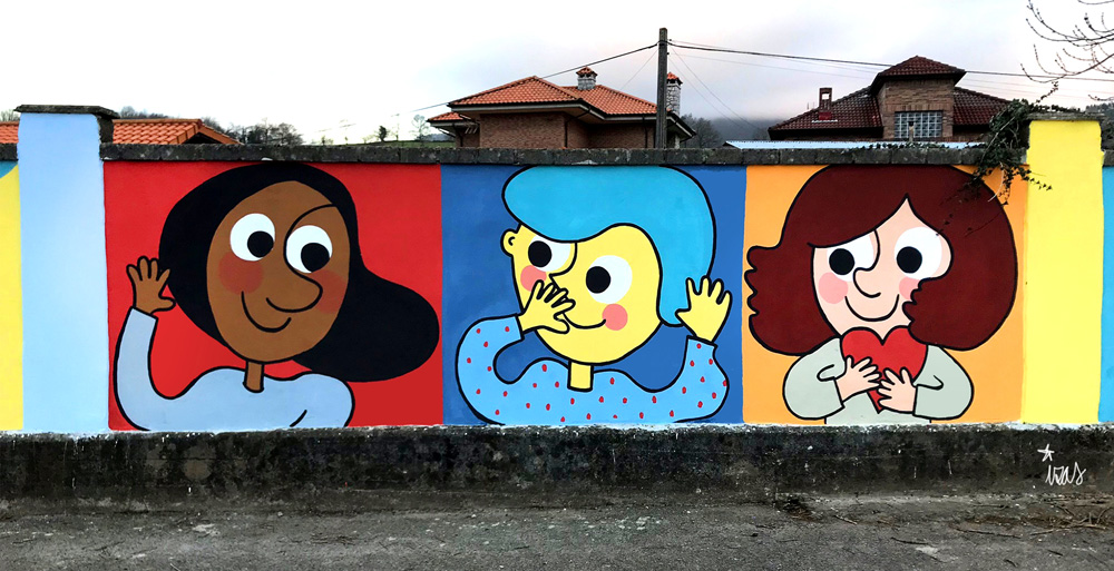 mural izas azulpatio ceip gerardo diego detalle 3