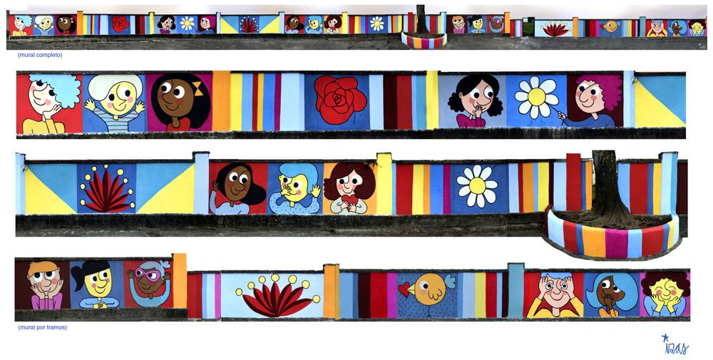 mural izas azulpatio ceip gerardo diego tramos