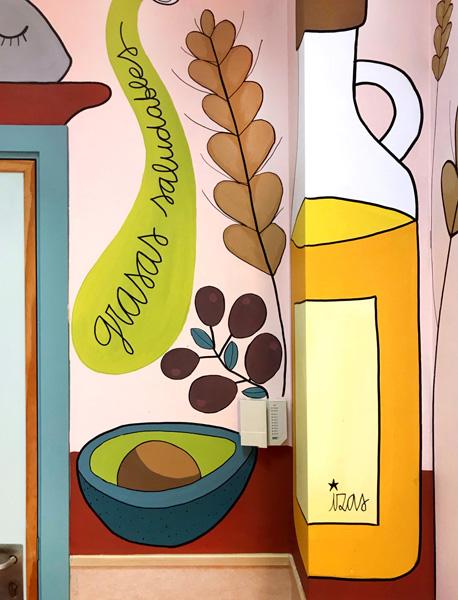 mural izas azulpatio ceip soledad sainz comedor frente detalle 2