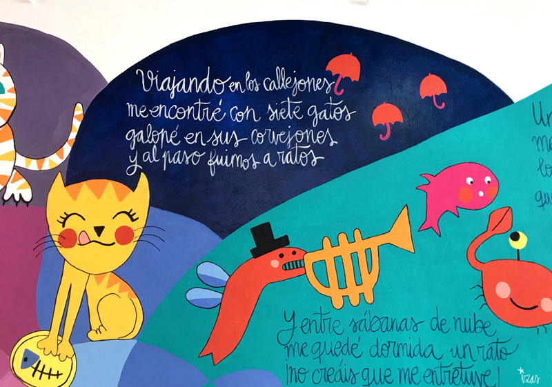 mural izas azulpatio dibujando la palabra ágreda detalle 2