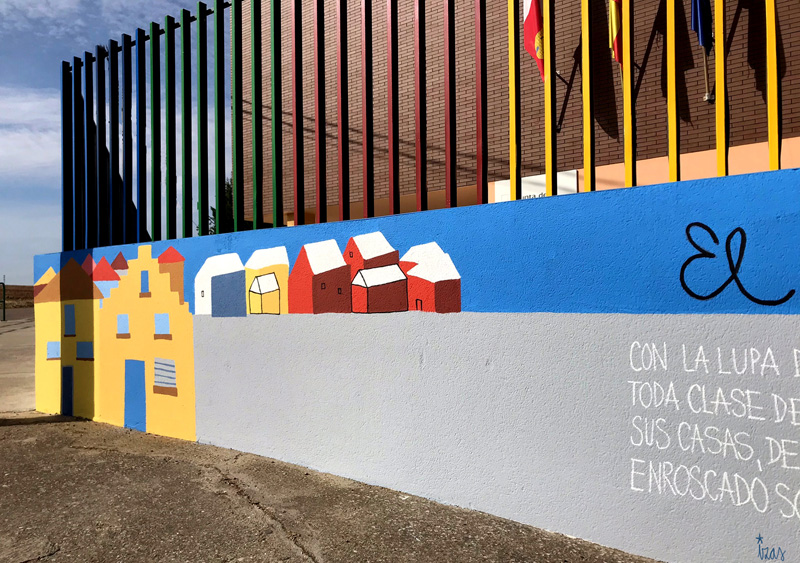 mural izas azulpatio dibujando la palabra ceip delibes detalle 11