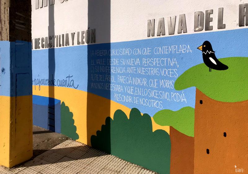 mural izas azulpatio dibujando la palabra ceip delibes detalle 14