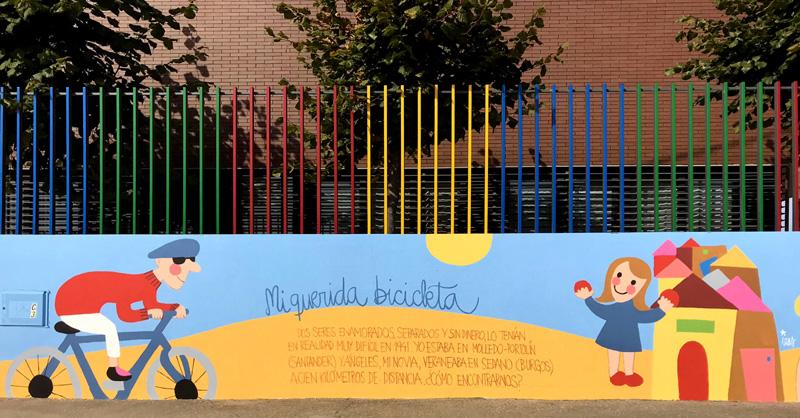 mural izas azulpatio dibujando la palabra ceip delibes detalle 15