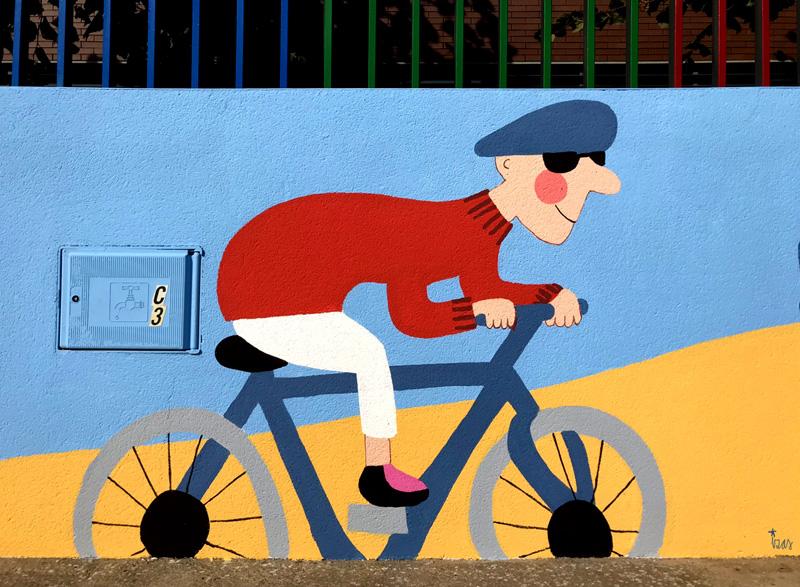 mural izas azulpatio dibujando la palabra ceip delibes detalle 2