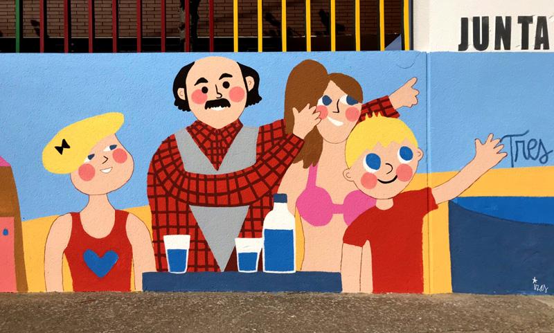mural izas azulpatio dibujando la palabra ceip delibes detalle 3