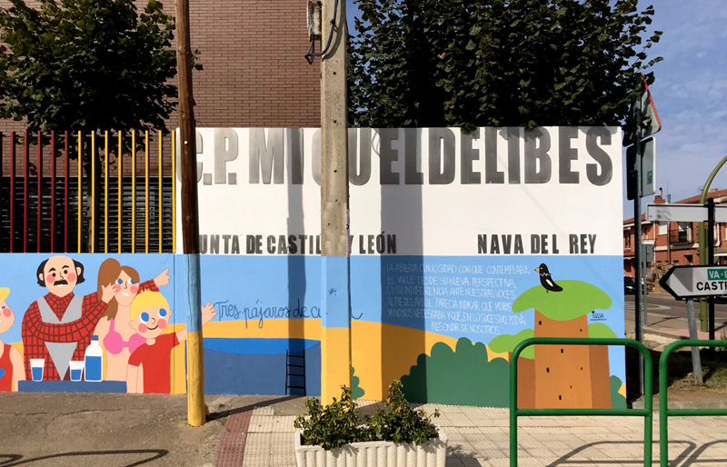 mural izas azulpatio dibujando la palabra ceip delibes detalle 4