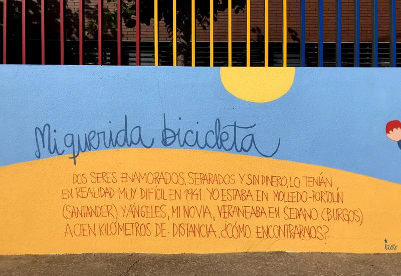mural izas azulpatio dibujando la palabra ceip delibes detalle 5