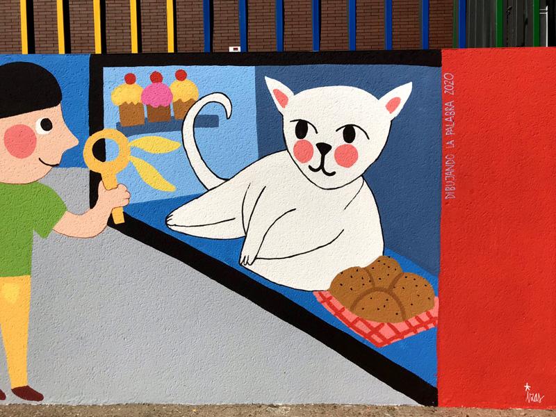 mural izas azulpatio dibujando la palabra ceip delibes detalle 6