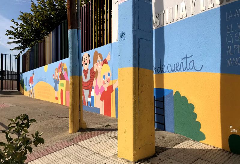 mural izas azulpatio dibujando la palabra ceip delibes detalle 7