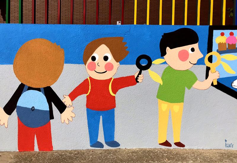 mural izas azulpatio dibujando la palabra ceip delibes detalle 9