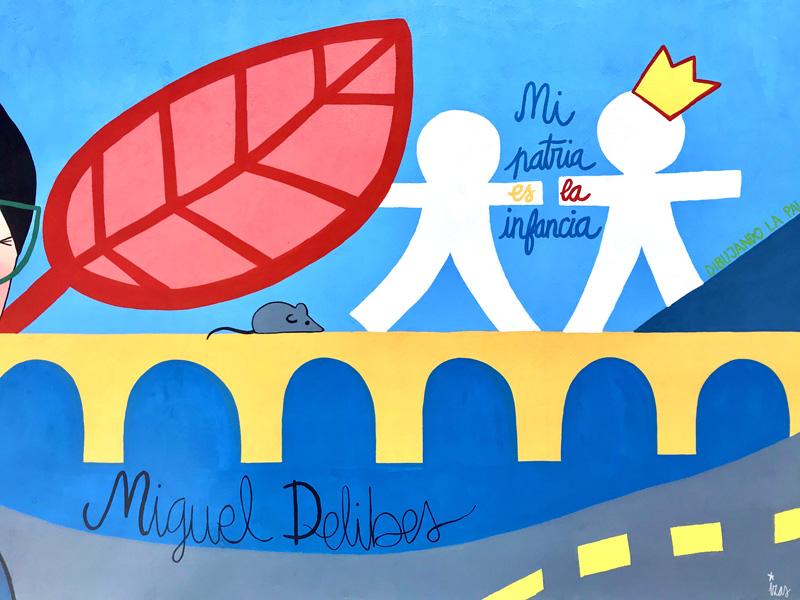mural izas azulpatio dibujando la palabra ceip diego lainez detalle2