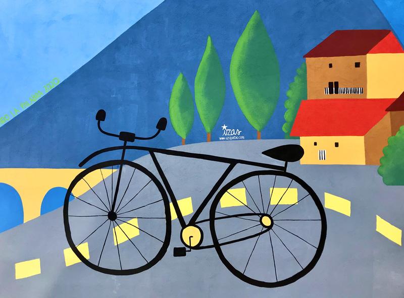 mural izas azulpatio dibujando la palabra ceip diego lainez detalle3