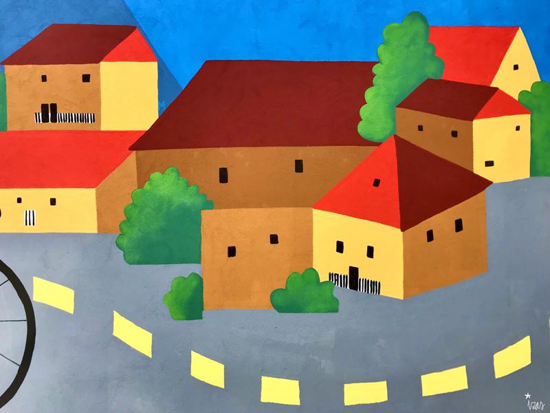 mural izas azulpatio dibujando la palabra ceip diego lainez detalle4