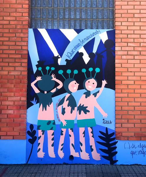mural izas azulpatio dibujando la palabra ceip órbigo detalle 4