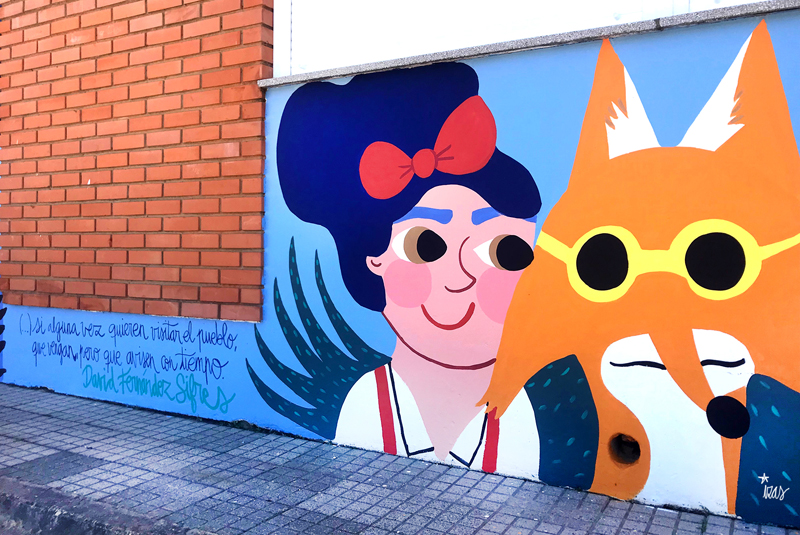 mural izas azulpatio dibujando la palabra ceip órbigo detalle 5