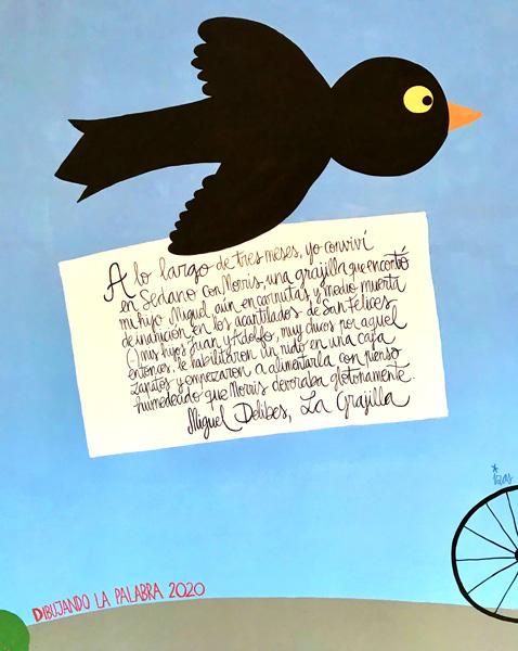 mural izas azulpatio dibujando la palabra cra los llanos detalle 2