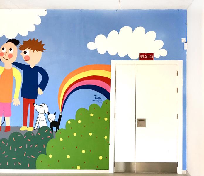 mural izas azulpatio dibujando la palabra cra los llanos detalle 4