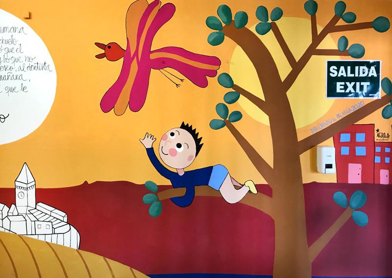mural izas azulpatio dibujando la palabra madrigal detalle 3