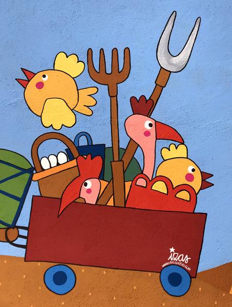 mural izas azulpatio dibujando la palabra madrigal detalle 4