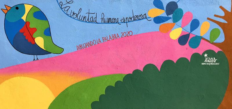 mural izas azulpatio dibujando la palabra moraleja detalle 7