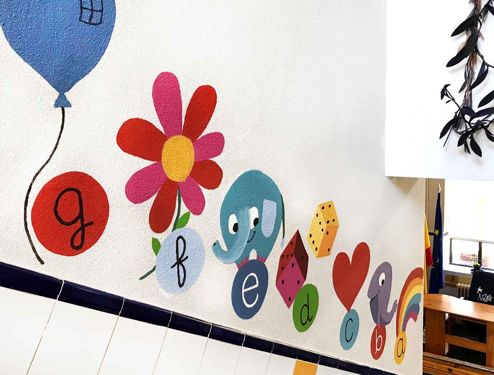 mural izas azulpatio soledad sainz escalera 14