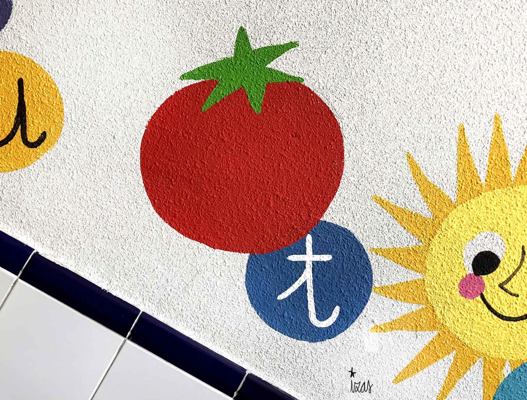 mural izas azulpatio soledad sainz escalera 18