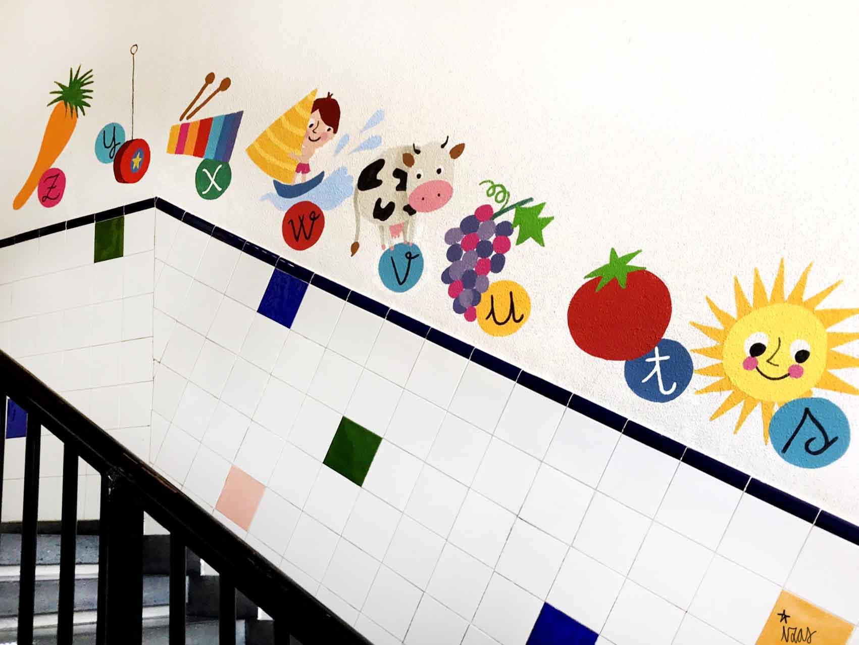 mural izas azulpatio soledad sainz escalera 24