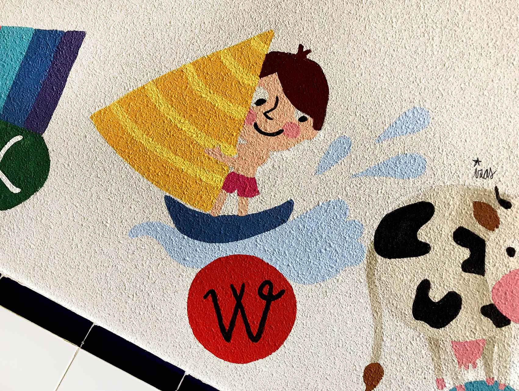 mural izas azulpatio soledad sainz escalera 25