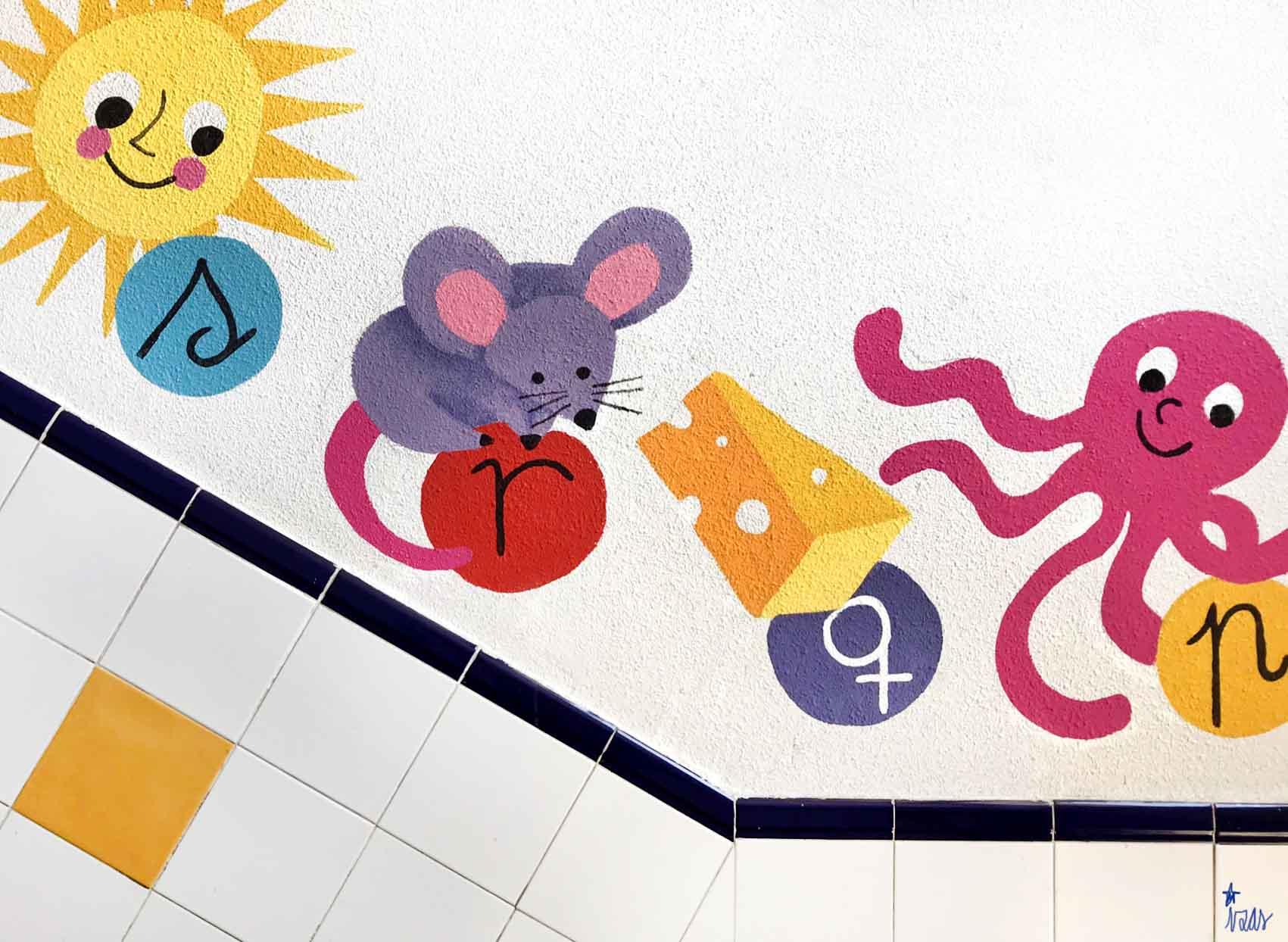 mural izas azulpatio soledad sainz escalera 9