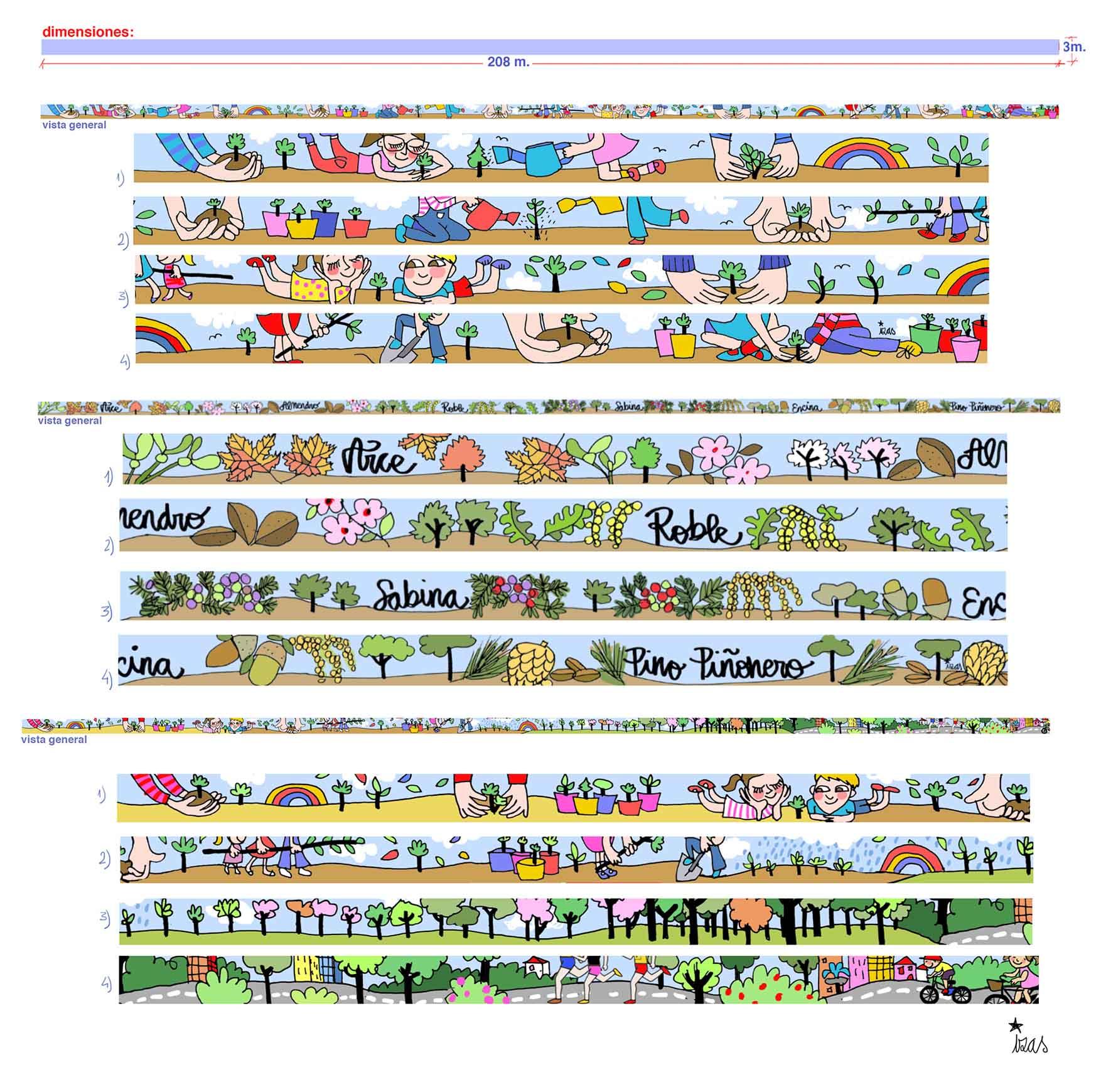 mural izas bosque de los sueños proyecto