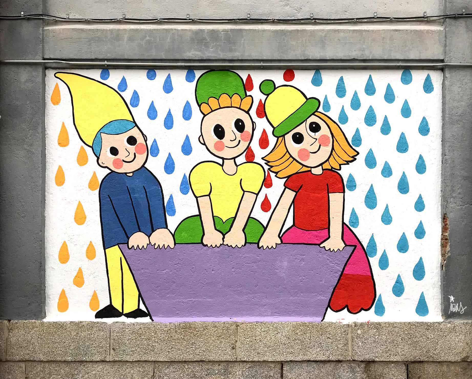 mural izas dibujando la palabra ávila 3