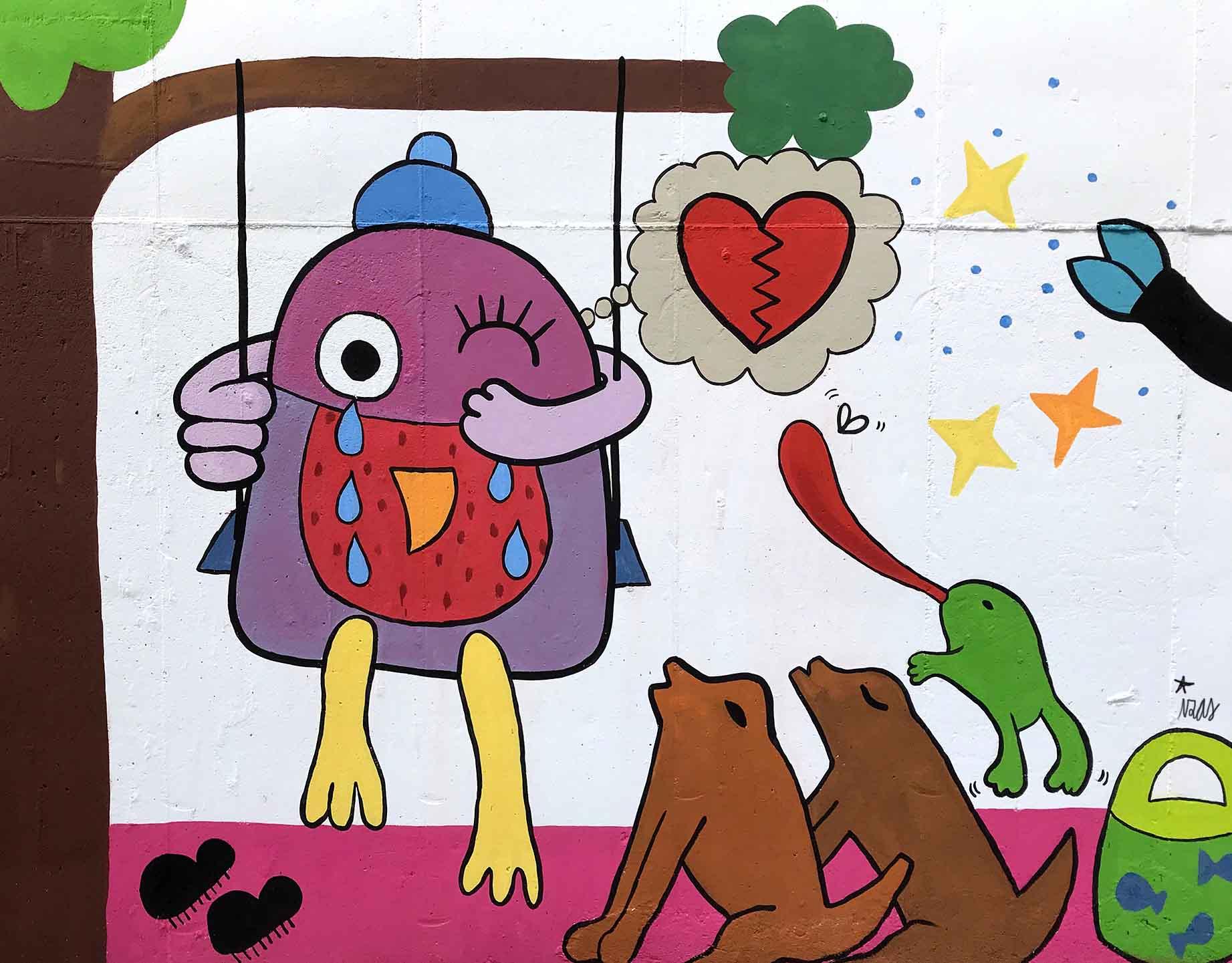 mural izas dibujando la palabra béjar 1