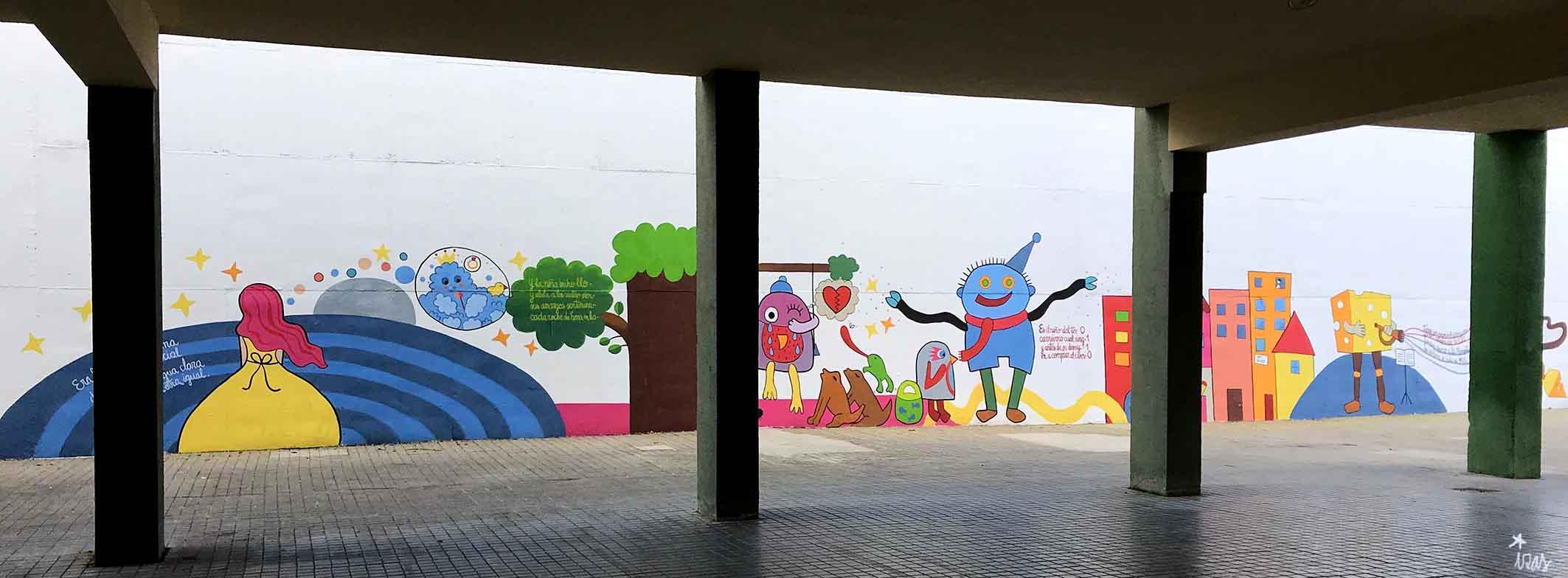 mural izas dibujando la palabra béjar 3