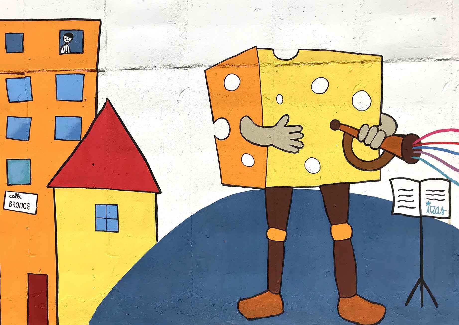 mural izas dibujando la palabra béjar 4