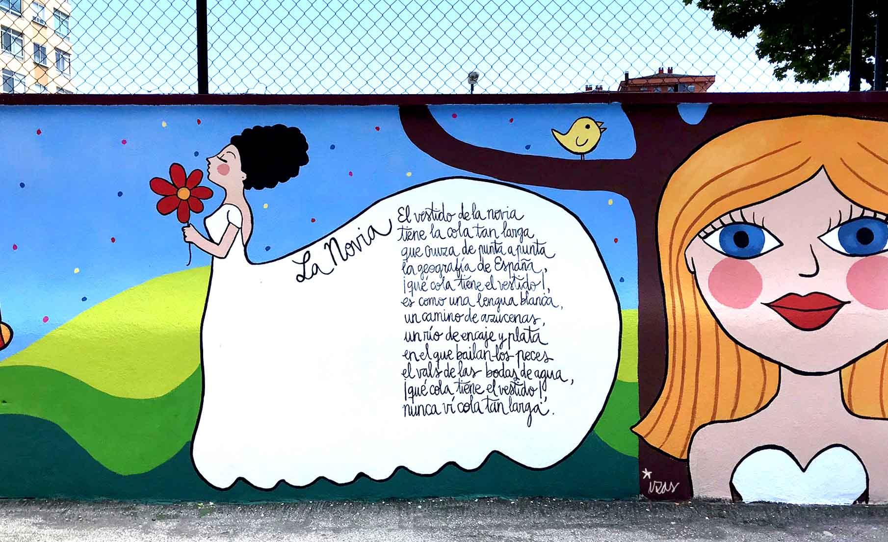 mural izas dibujando la palabra burgos 1