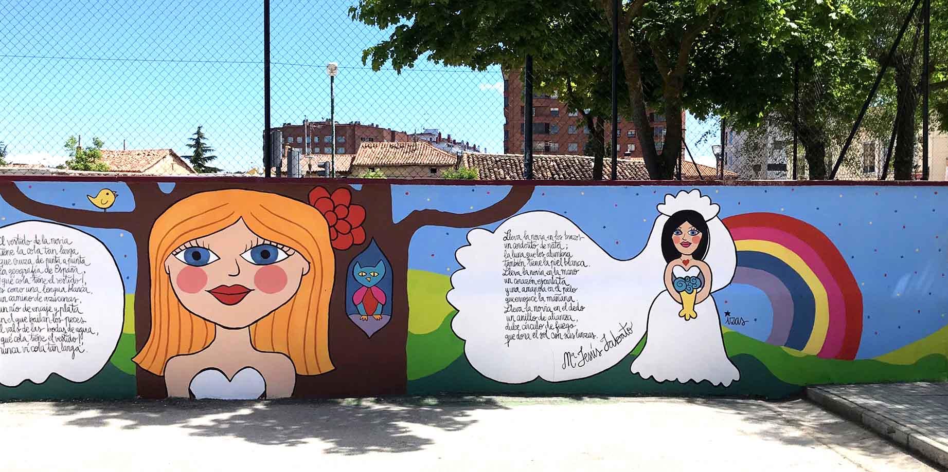 mural izas dibujando la palabra burgos 6
