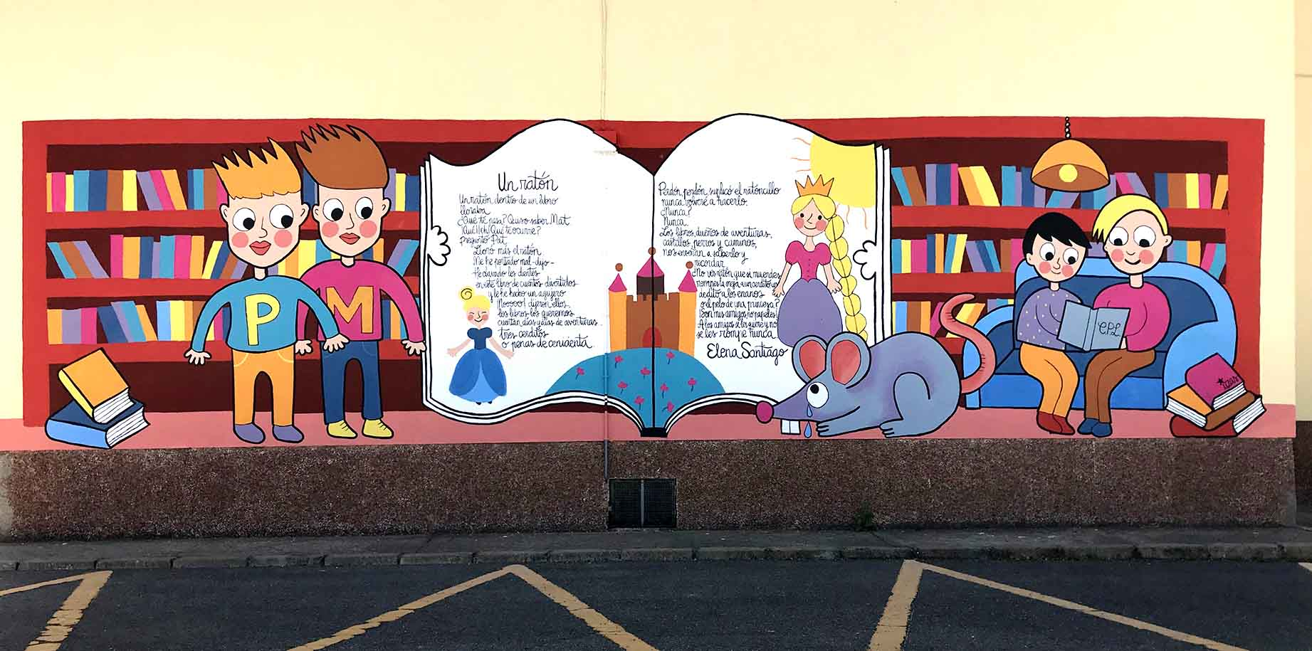 mural izas dibujando la palabra león 6
