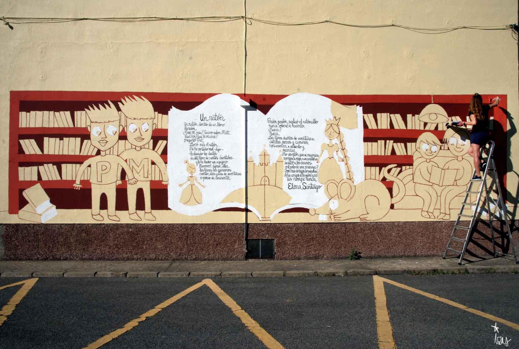 mural izas dibujando la palabra león 7