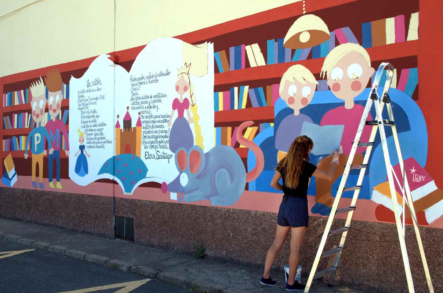 mural izas dibujando la palabra león8