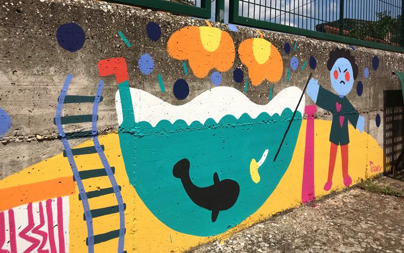 mural izas dibujando la palabra oña parte 6