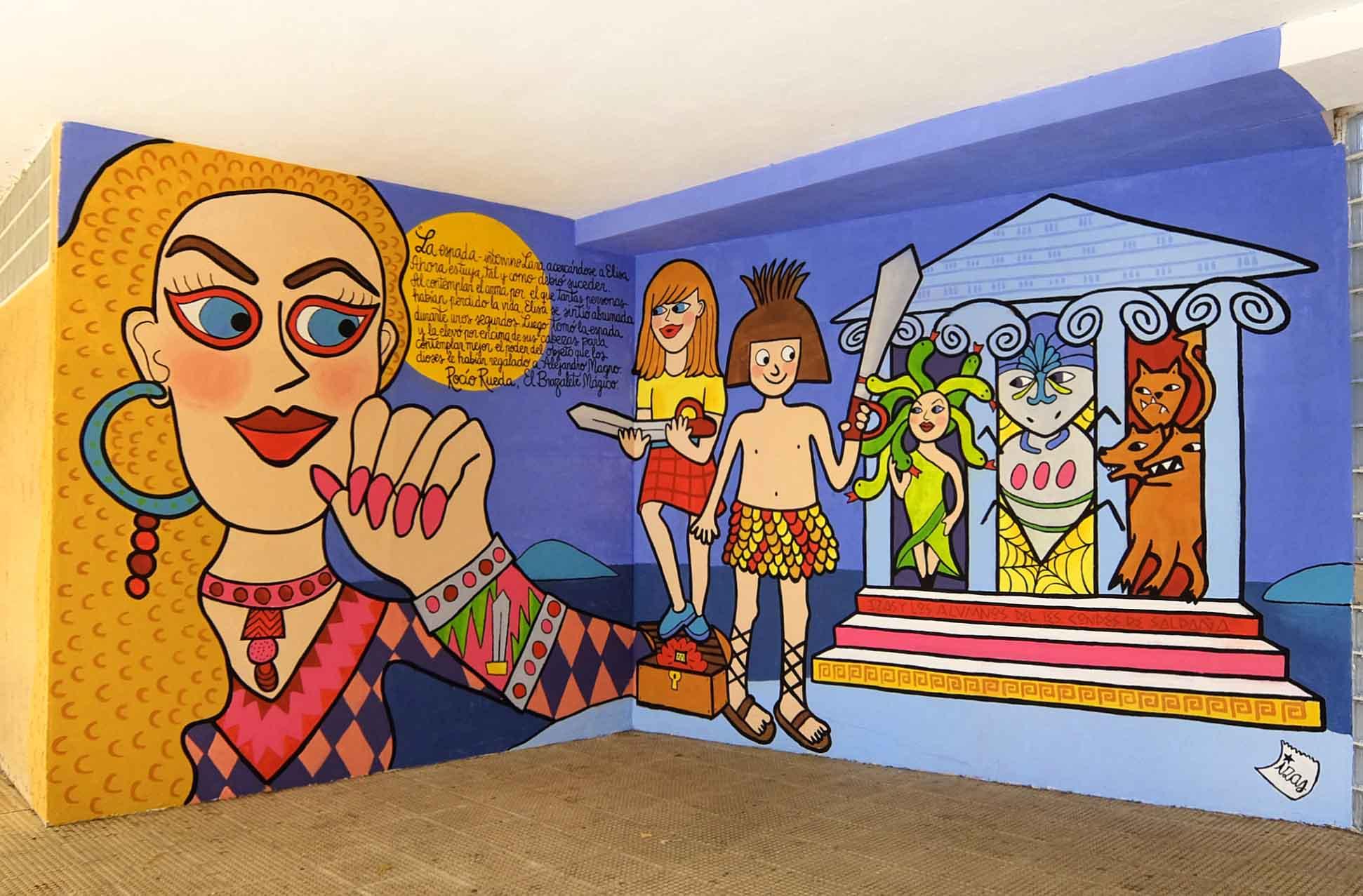 mural izas dibujando la palabra palencia 1
