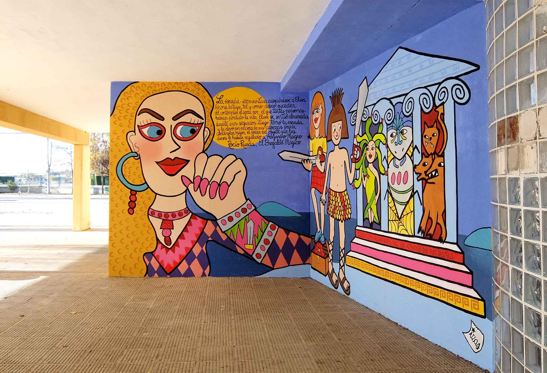 mural izas dibujando la palabra palencia 2