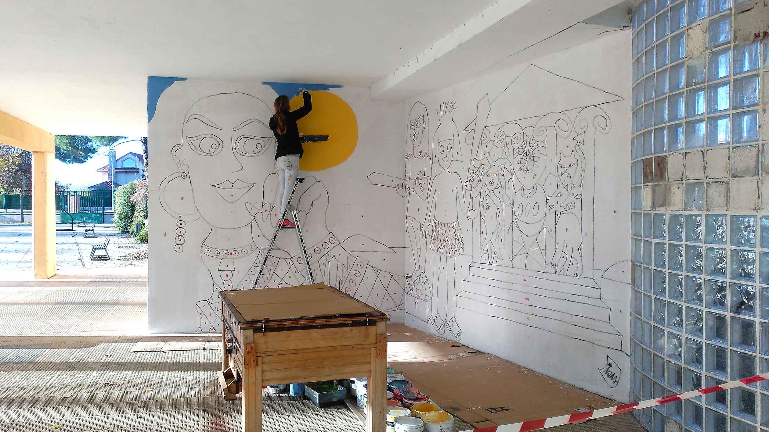 mural izas dibujando la palabra palencia 7