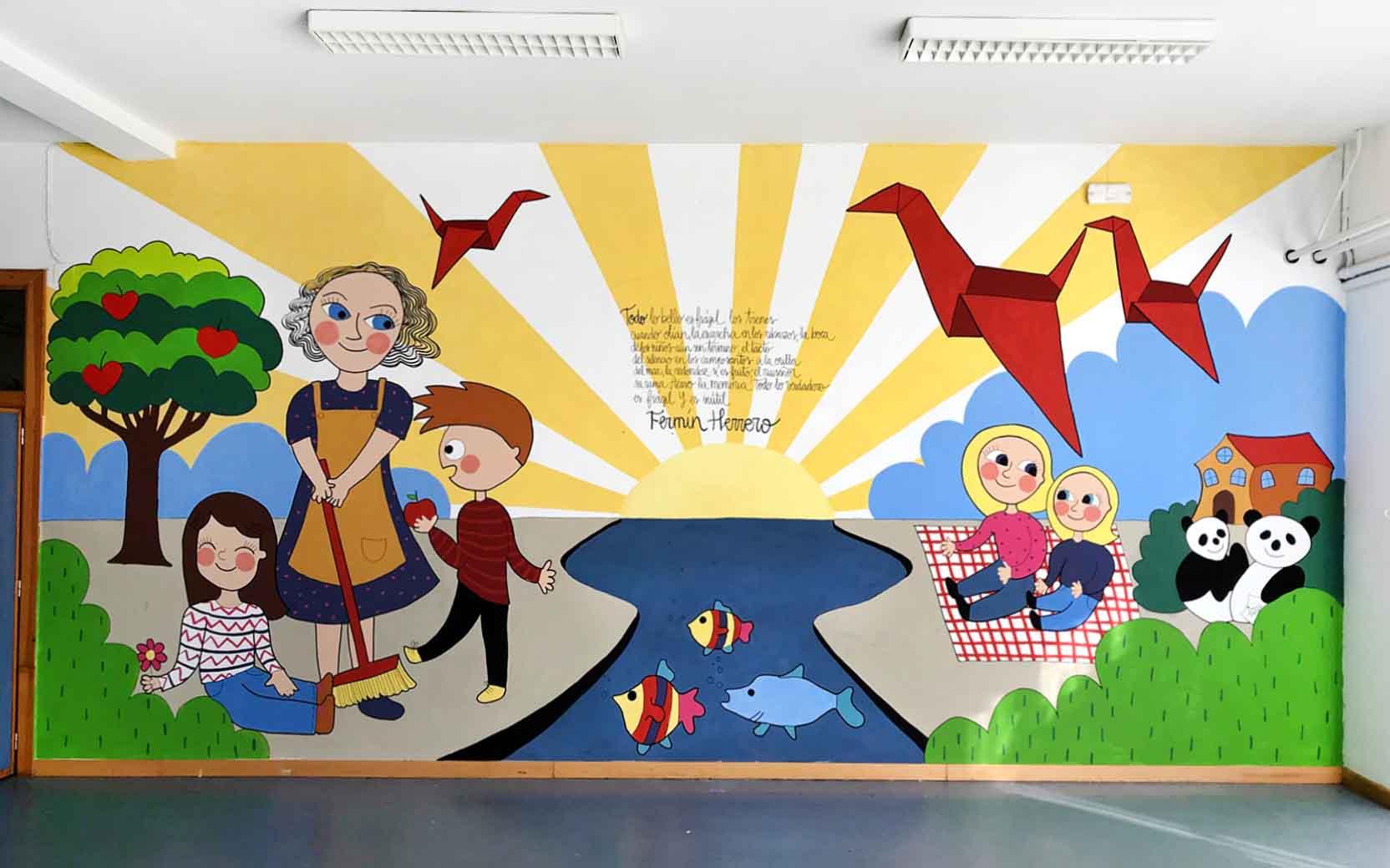 mural izas dibujando la palabra soria 1