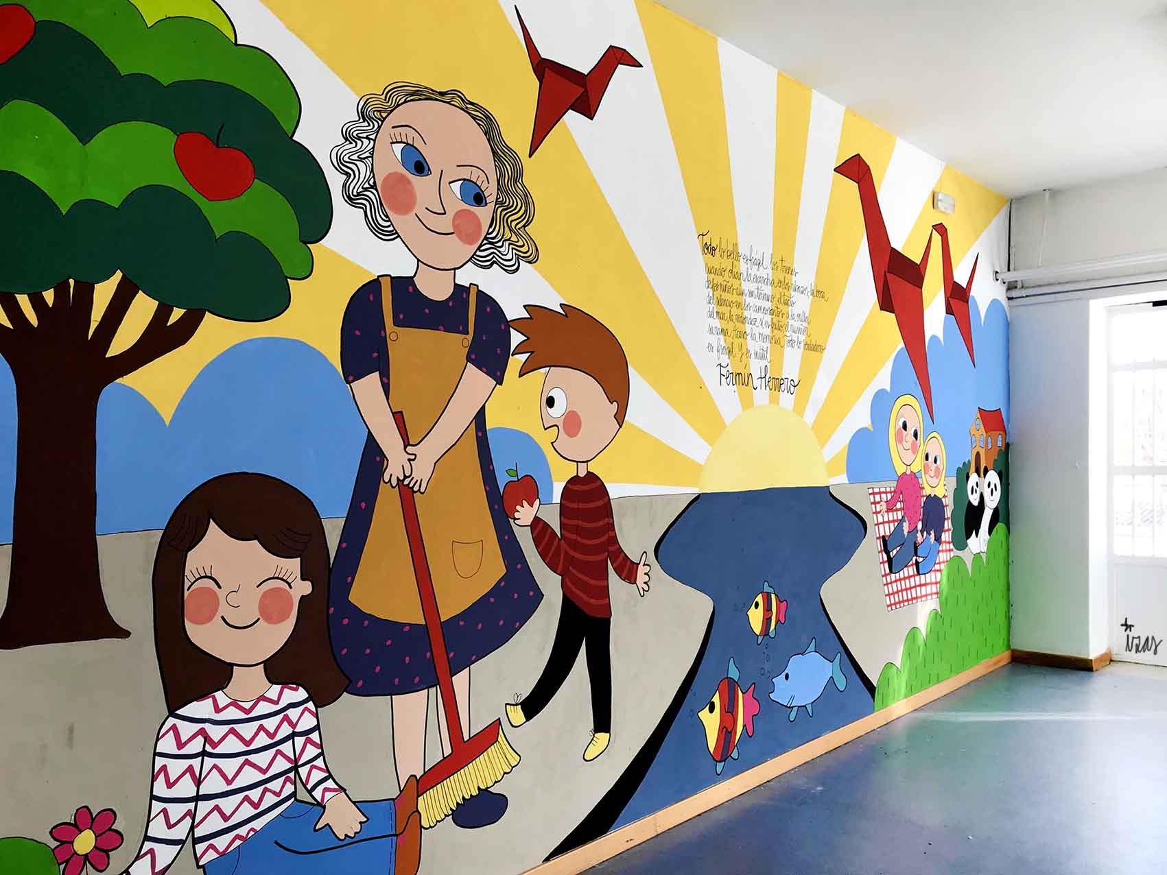mural izas dibujando la palabra soria 2