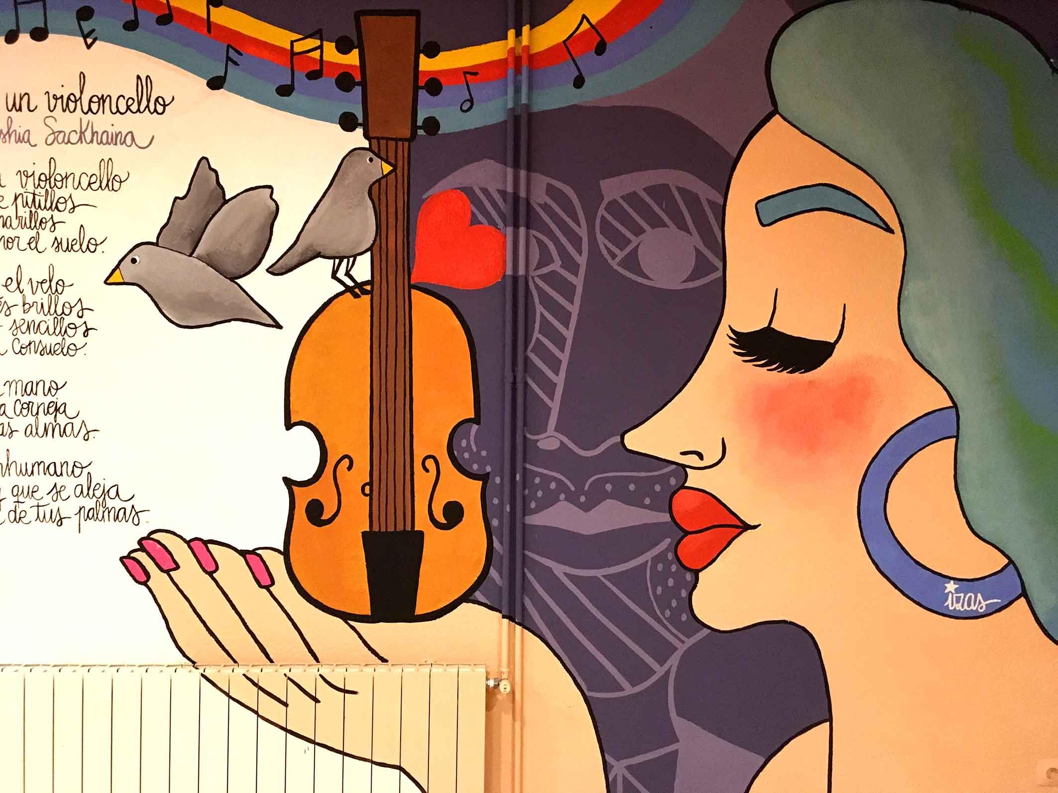 mural izas dibujando la palabra valladolid 1