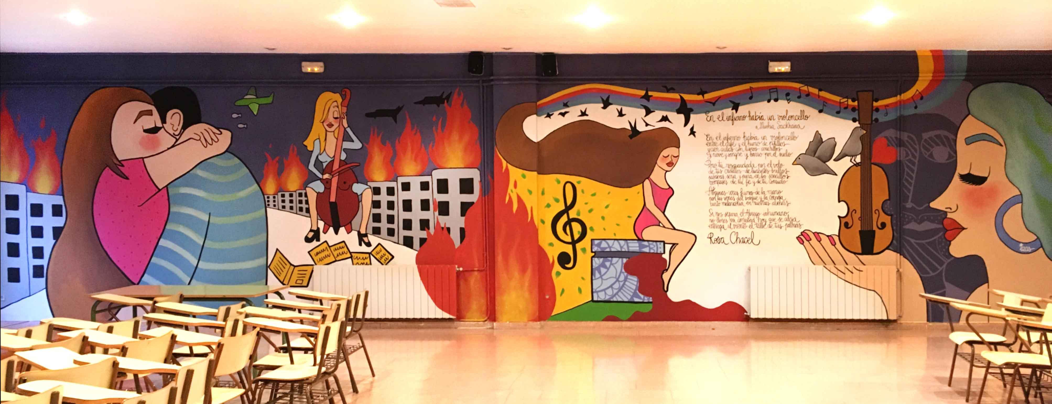 mural izas dibujando la palabra valladolid 5