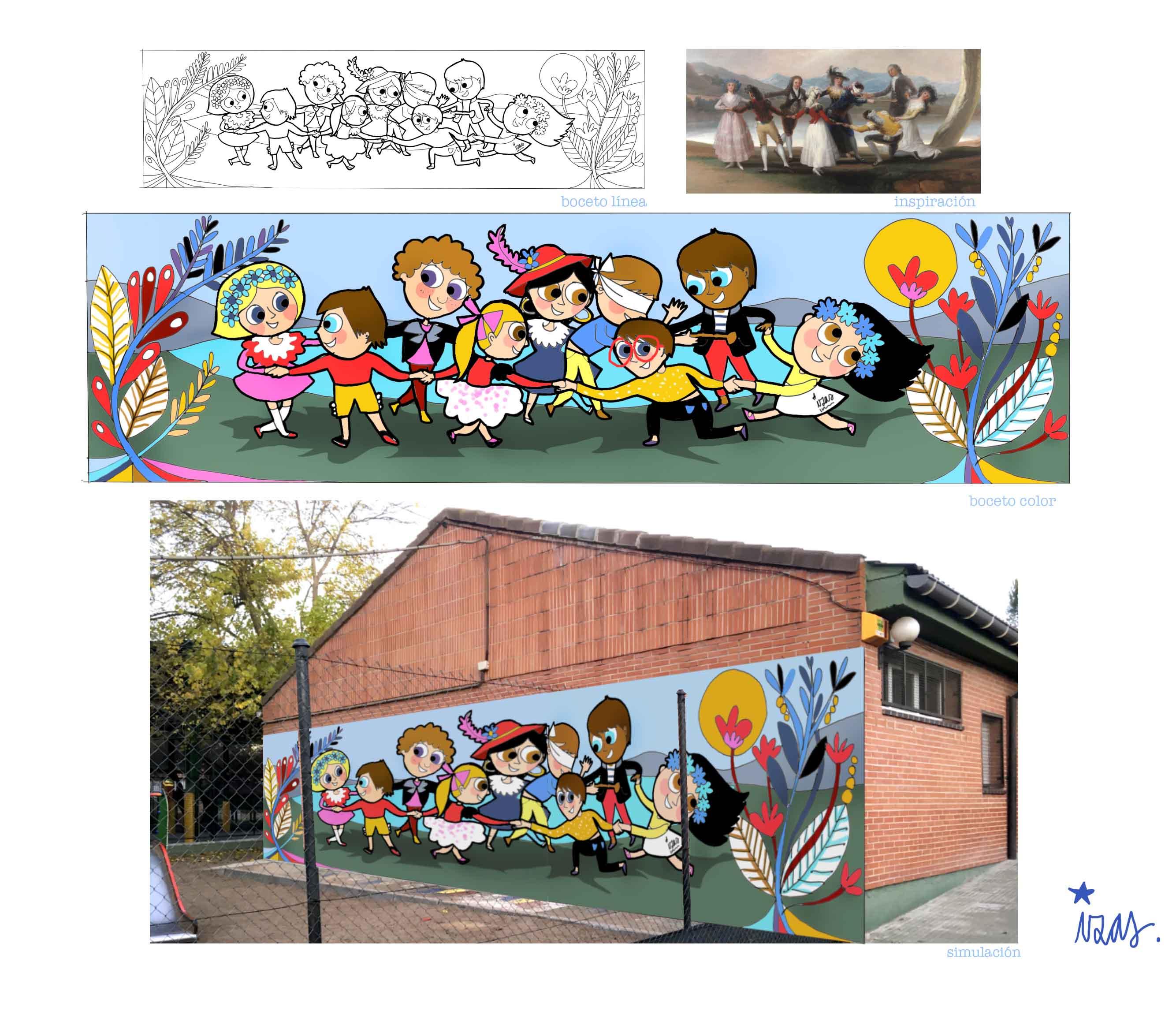 mural izas pinar prados infantil proyecto