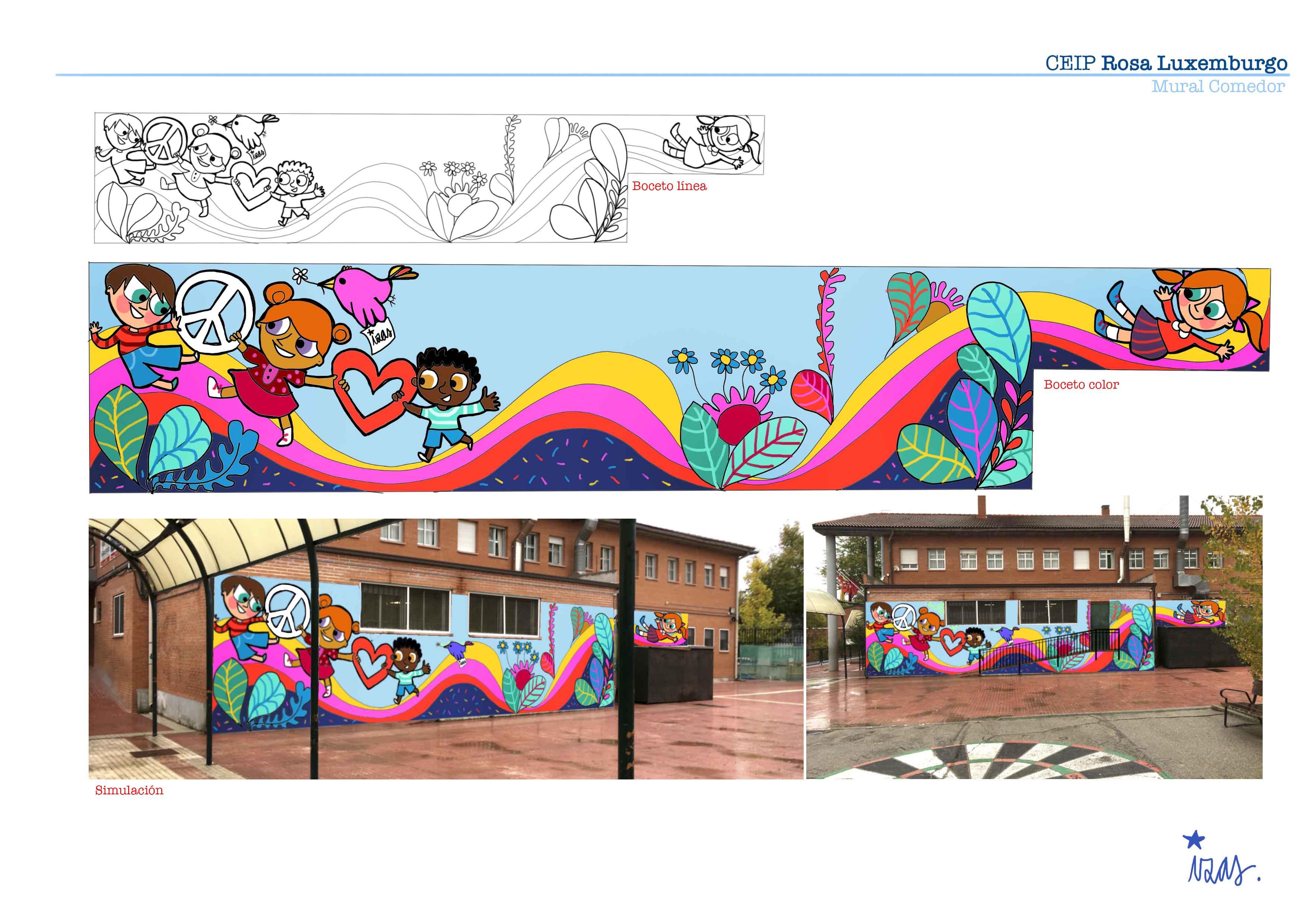 mural izas rosa luxemburgo primaria proyecto
