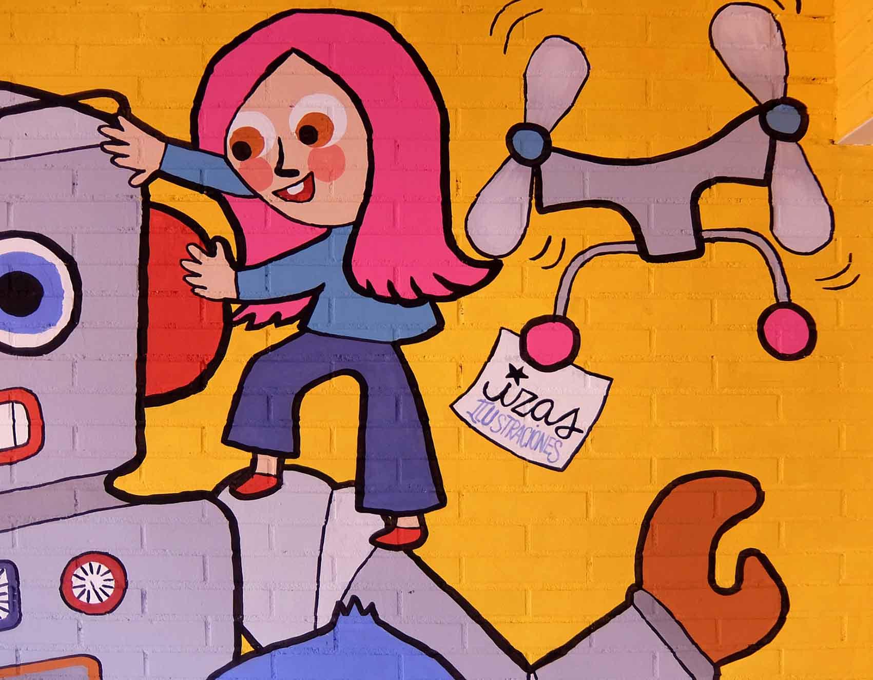 mural izas rosa luxemburgo robótica y biblioteca 11